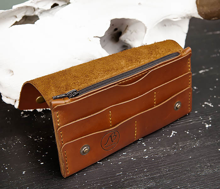 WB185-2 Тонкий клатч из коричневой натуральной кожи фото 08