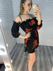 летнее платье с розами недорого
