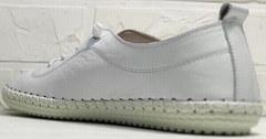 Спортивные мокасины женские белые кожаные кроссовки Rozen 115 All White.