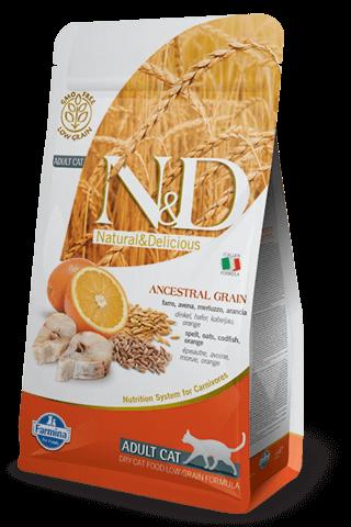 купить Farmina N&D Ancestral Grain Codfish & Orange Adult сухой низкозерновой корм для взрослых кошек спельта треска апельсин