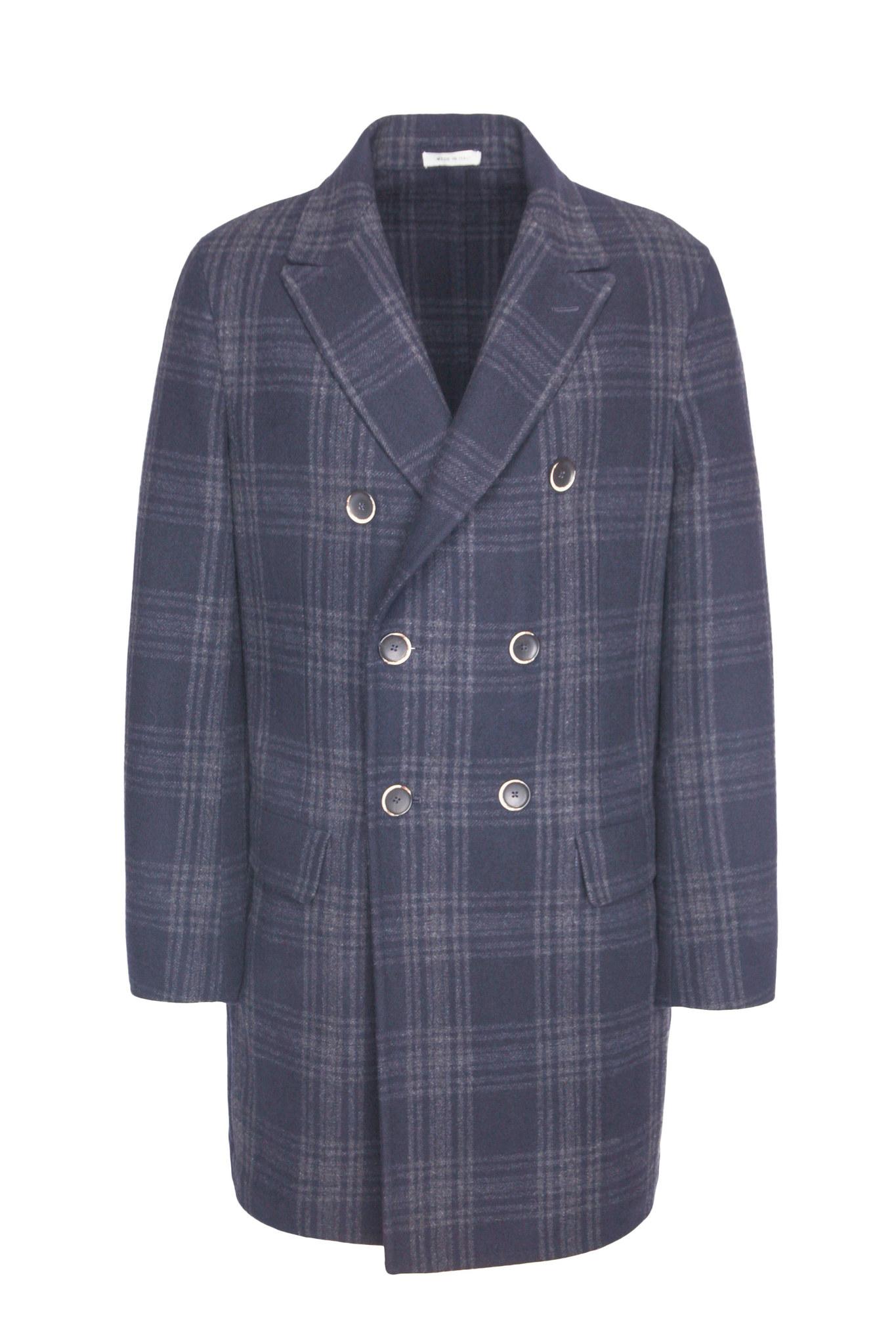 Двубортное зелёное шерстяное пальто