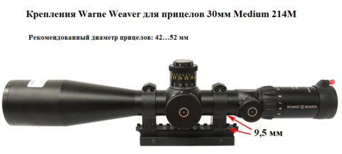 КРЕПЛЕНИЯ WARNE WEAVER ДЛЯ ПРИЦЕЛОВ 30ММ MEDIUM 214M