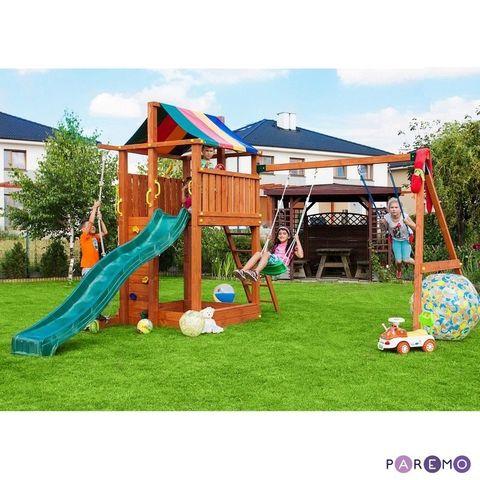 Игровой набор для детской площадки: домик с тентом, горка с лестницей, песочница, канат, веревочная лестница, скалолазная доска и 2 качели