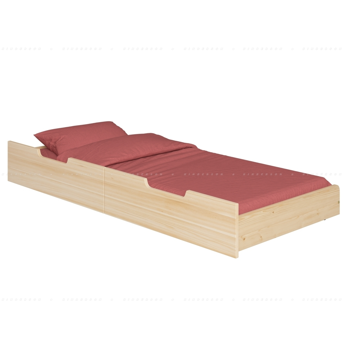 Выдвижная кровать на колесах из массива сосны