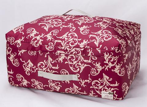 Мягкий средний широкий кофр для одежды, L, 56*42*24 см (бордо с узорами)