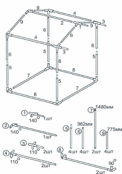Схема сборки Торговой палатки Митек Домик 1,5x1,5 Ø18 мм