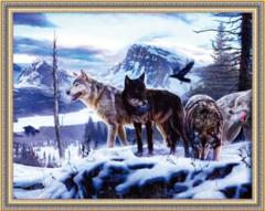 Алмазная Мозаика 40x50 Стая волков в зимнем лесу