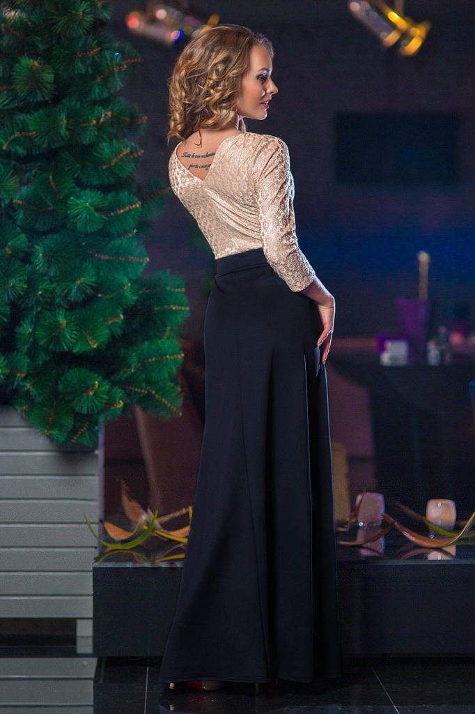 Платье в пол с лифом из жаккарда