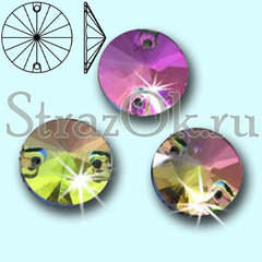 Стразы пришивные стеклянные Rivoli Rainbow Vitrail Medium, Риволи Круг Витрайл Медиум многоцветный на StrazOK.ru