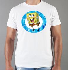 Футболка с принтом мультфильма Губка Боб Квадратные Штаны/ Спанч Боб (SpongeBob SquarePants) белая 007