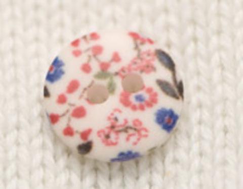 Пуговица с цветочным орнаментом, с красными и синими цветами, плоская, 12 мм