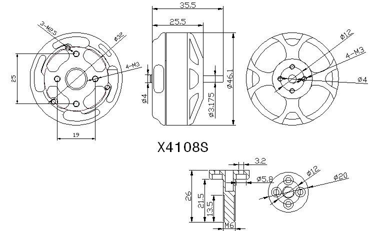 Схема мотора SunnySky X4108S KV600