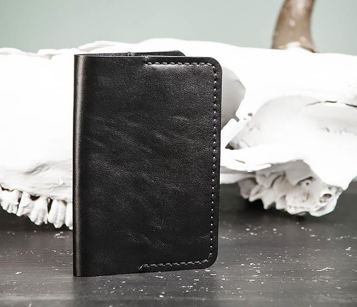 WB177-1 Обложка для паспорта из черной натуральной кожи фото 02
