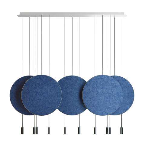 Подвесной светильник копия REVOLTA by Estiluz (5 плафонов, синий)