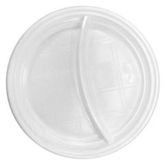 Тарелка одноразовая пластиковая белая 2-х секционная 100 штук в упаковке