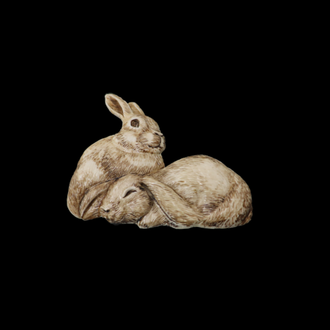 Брошь из бивня мамонта «Зайки»
