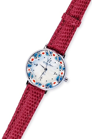 Часы на темно-красном кожаном ремешке с красно-синим циферблатом