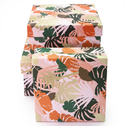 Коробка Разноцветные листья, Розовый, 19*19*10 см