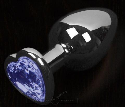 Графитовая анальная пробка с синим кристаллом в виде сердечка - 8,5 см.