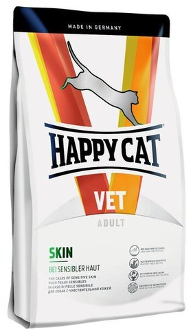 купить Happy Cat VET Diet Skin сухой корм для взрослых кошек при проблемах с кожей и шерстью 4кг