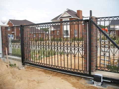 Кованые откатные ворота N-1