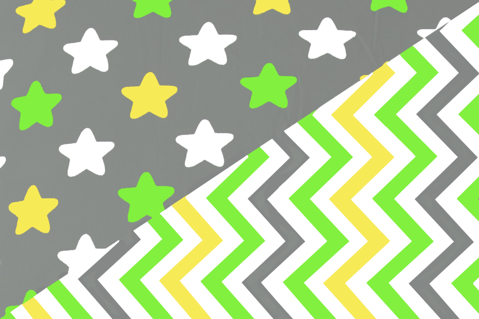 """Постельное белье """"Звёзды жёлтый, зелёный, белый, фон графит - зигзаги жёлтый, зелёный ,графит"""""""