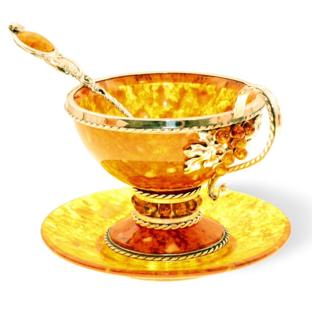 Чайный набор из янтаря и бронзы «Виноград» с ложечкой