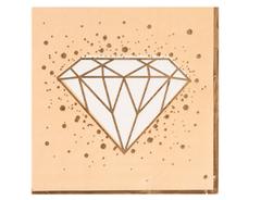 Салфетки бумажные, LUX, Алмаз, Персиковые с золотым кантом (Свадьба), 33 см, 6 шт, 1 уп.
