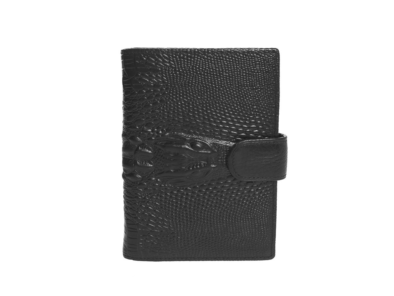 Стильная мужская чёрная обложка для паспорта и автодокументов из натуральной кожи под рептилию с имитацией головы крокодила Dublecity 121-DC001-17A в подарочной коробке