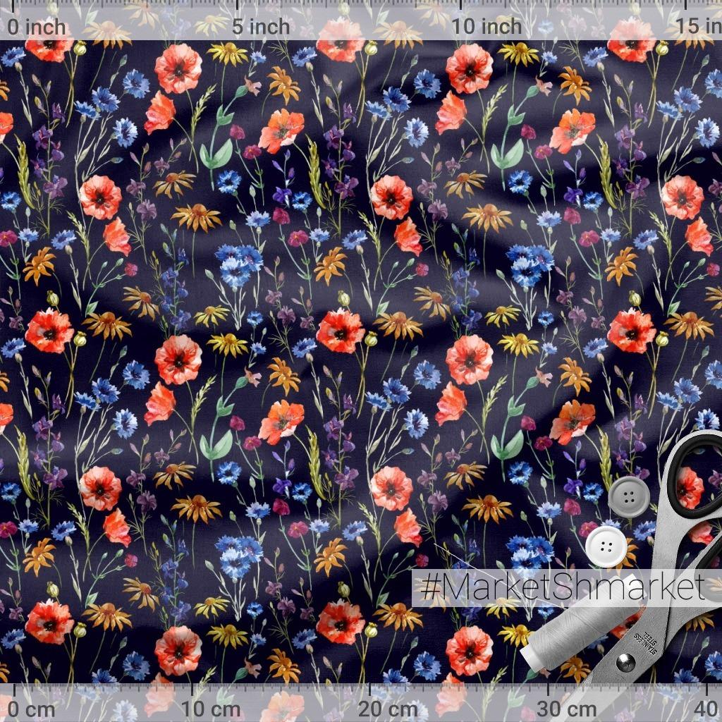 Луговые цветы (темный фон)
