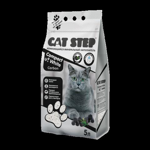 Cat Step Compact White Carbon Наполнитель для туалета кошек комкующийся минеральный с активированным углем