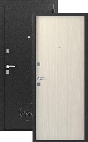 Дверь входная Сибирь S-1, 2 замка, 1 мм  металл, (серебро+капучино 3D)