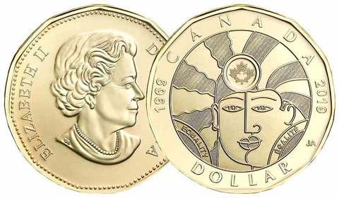 1 доллар 2019 Канада. 50 лет декриминализации гомосексуализма в Канаде. UNC