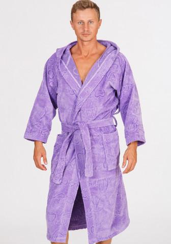 Длинный халат из велюровой махры, свободный, сиреневый