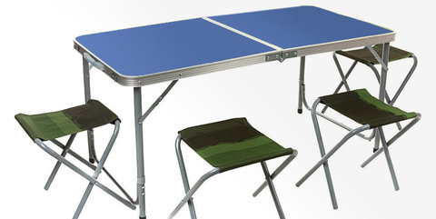 Набор мебели для пикника Zagorod В103 (стол +4 стула) (синий)