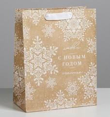 Пакет крафтовый вертикальный «С Новым годом», MS 18 × 23 × 10 см