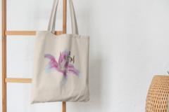 Сумка-шоппер с принтом Цветы (Лилии) бежевая 003