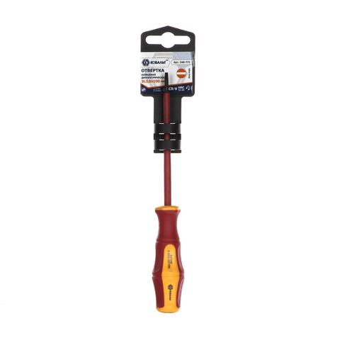 Отвертка диэлектрическая КОБАЛЬТ Ultra Grip SL 3,0 х 100 мм CR-V, двухкомпонентная рукоятка (1 шт.) подвес