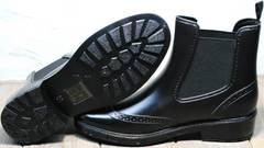 Короткие резиновые сапоги женские черные W9072Black.