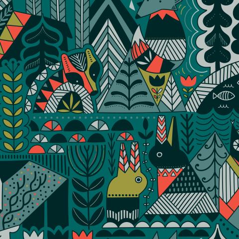 Скандинавский лес и животные