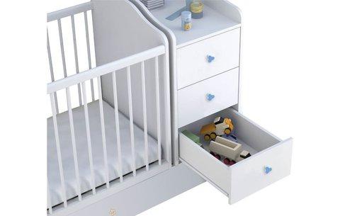Кроватка детская Polini kids Плюшевые Мишки с комодом, белый-синий
