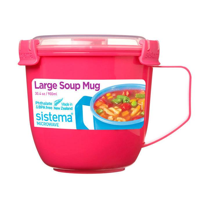 """Кружка суповая для СВЧ Sistema """"Microwave"""" 900 мл, цвет Розовый"""