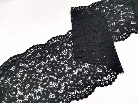 Эластичное кружево, 22 см, черное, (Арт: EK-2267), м