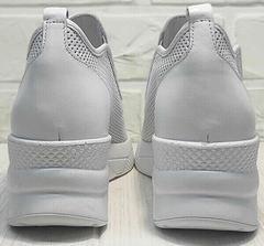 Женские летние туфли кроссовки с танкеткой smart casual стиль летние Derem 1761-10 All White.