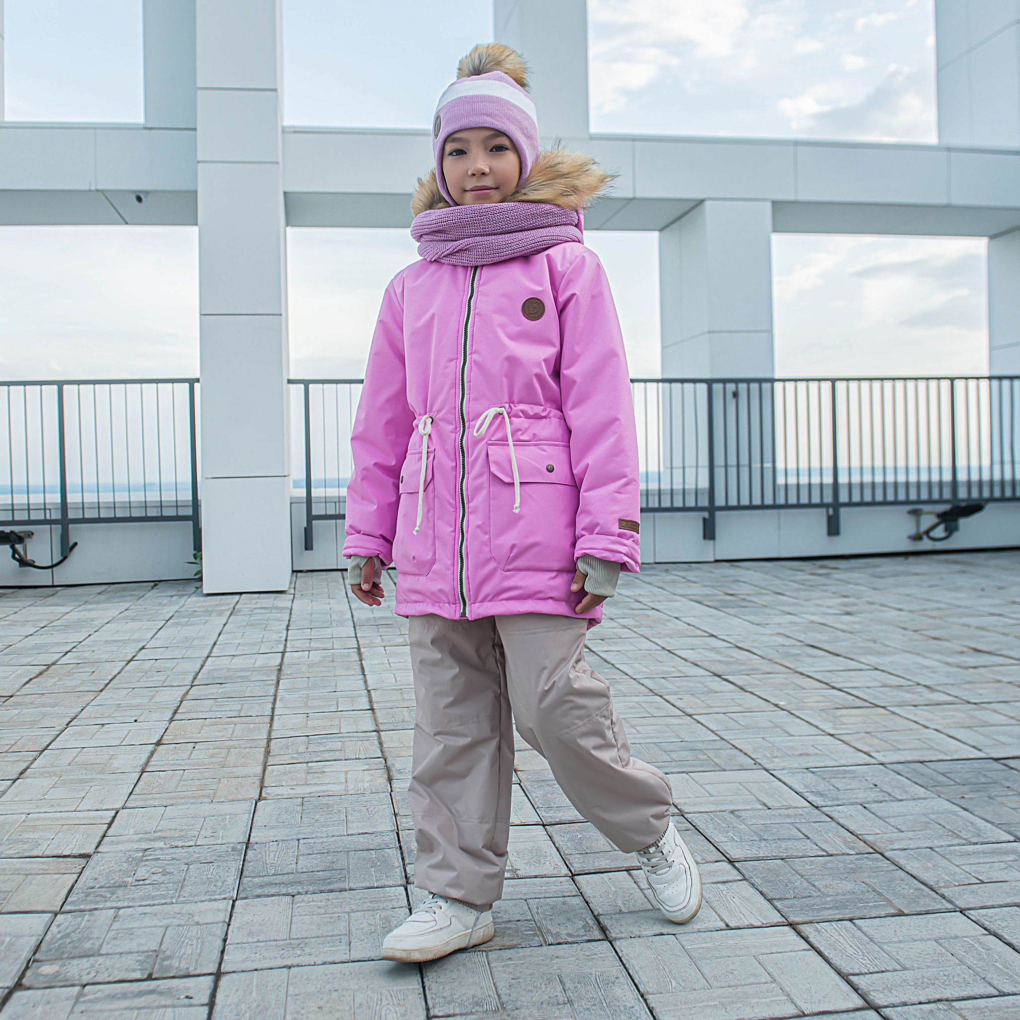 Winter membrane parka with fur for teens - Cherry Blossom