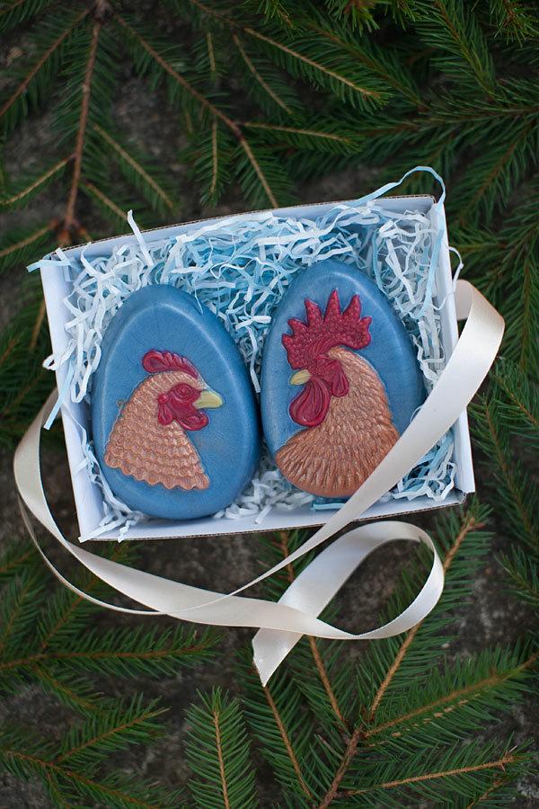 Форма для мыла Яйцо/Курица. Готовое мыло