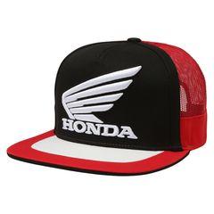 Модная бейсболка с прямым козырьком и с вышивкой Хонда (Кепка Honda) черная/ красная