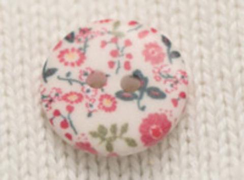 Пуговица с цветочным орнаментом, с красными и зелёными цветами, плоская, 18 мм