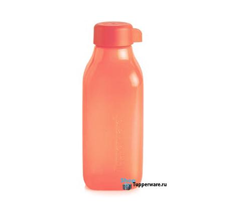 Бутылка Эко квадратная 500 мл в коралловом цвете