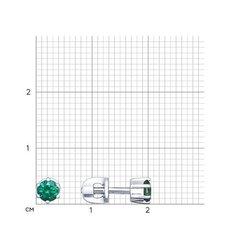 94021722 - Серьги-пусеты из серебра с зелеными фианитами